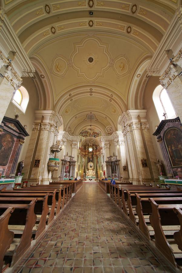 Interior of the church Maria Radna, consecrated in honor of the Blessed Virgin Mary royalty free stock photography