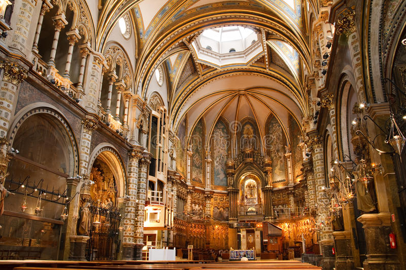 Basilica at the Montserrat Monastery, Spain. Basilica at the Montserrat Monastery, a spectacularly beautiful Benedictine Abbey high up in the mountains near stock image