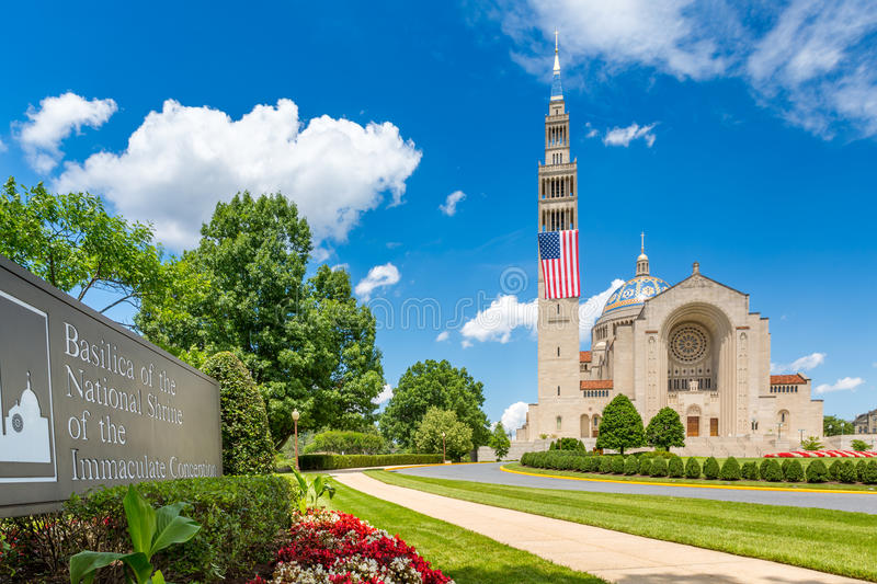 Basilica of the National Shrine of the Immaculate Conception royalty free stock image