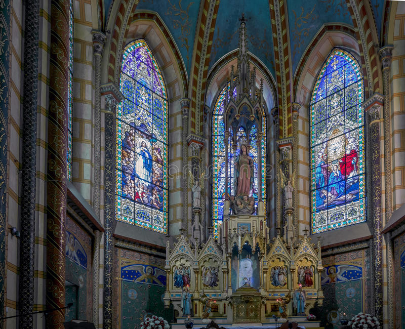 Basilica of the National Vow in Quito, Ecuador. The Basilica of the National Vow is a Roman Catholic church located in the historic center of Quito, Ecuador. It stock photography