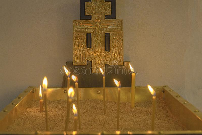 Basilica Of The Nativity. Burning candles in the Church on the main altar stock photography