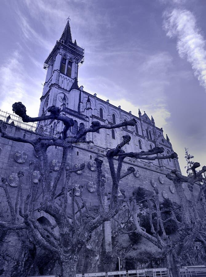 Basilica Notre Dame du Rosaire. Lourdes stock photography