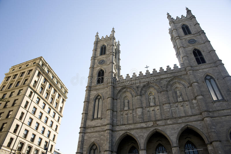 Basilica of notre dame quebec stock image
