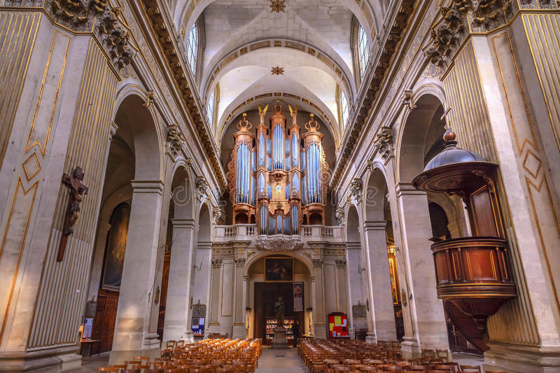 Basilica Organ Saint Louis En L'ile Church Paris France. Saint Louis En L'ile church built in Notre Dame was built in 1726 on the island in back of Nortre Dame stock photos