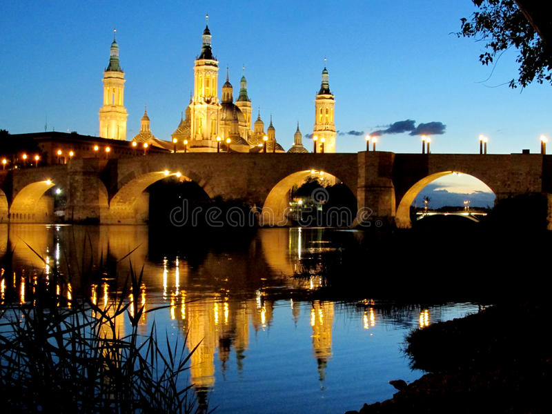 Basilica of Our Lady of the Pillar in Zaragoza stock photo