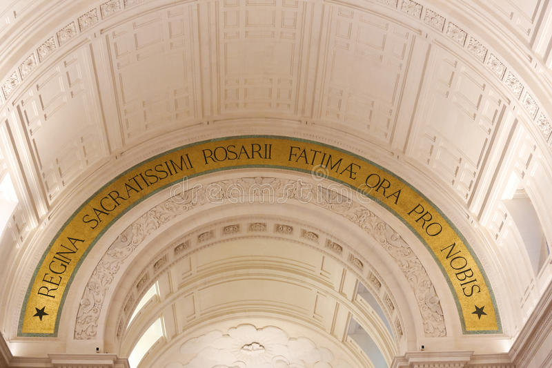 Basilica of Our Lady of the Rosary in Fatima, Portugal. Interior of the Basilica of Our Lady of the Rosary in Fatima, with the Latin text Queen of the Holiest stock image