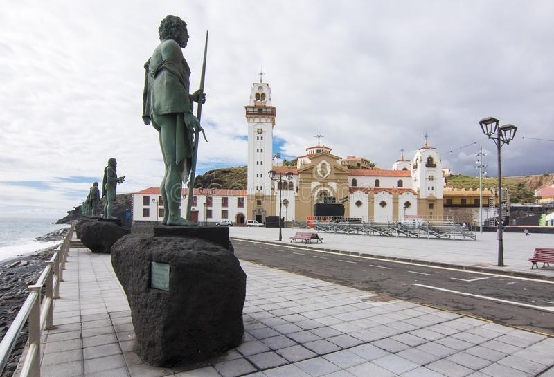 Basilica of Our Lady and statues on Candelaria embankment, Tenerife, Canary islands, Spain stock image
