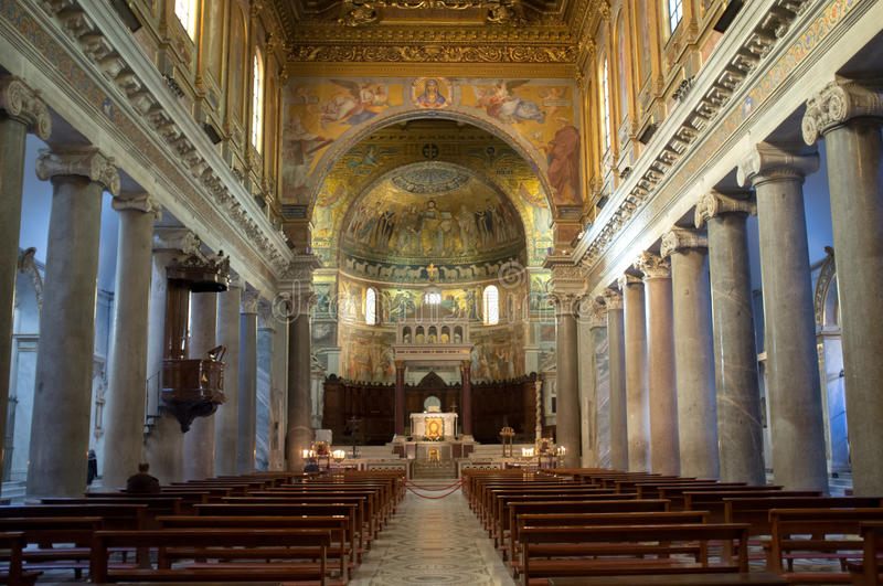 Download The Basilica Of Our Lady In Trastevere In Rome Editorial Stock Image - Image of altar, christian: 29086234