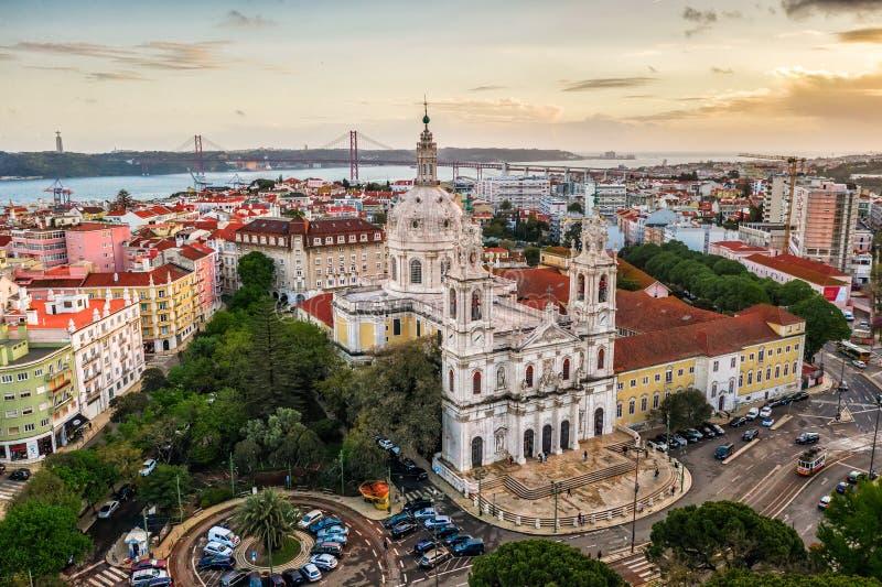Basilica reale Lapa, convento del maggior parte, chiesa europea Portogallo Lisbona, foto del fuco, vista di estrela del basilico  immagini stock libere da diritti