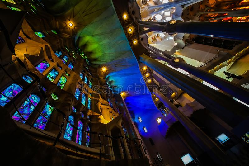 Basilica of redemptive temple of the Holy Sagrada family by Antonio Gaudi stock photos