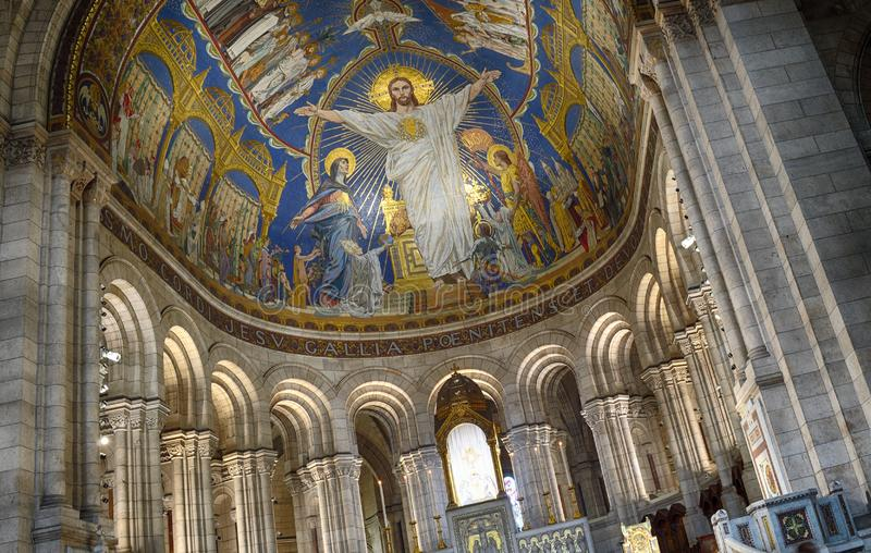 Basilica of Sacre-Coeur - fragment of the interior. royalty free stock photos