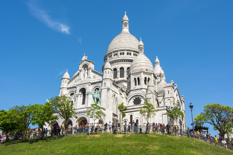 Basilica of Sacre Coeur Sacred Heart on Montmartre hill, Paris, France royalty free stock photo