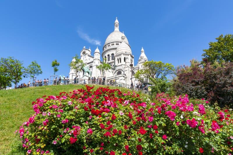 Basilica of Sacre Coeur Sacred Heart on Montmartre hill, Paris, France stock photos