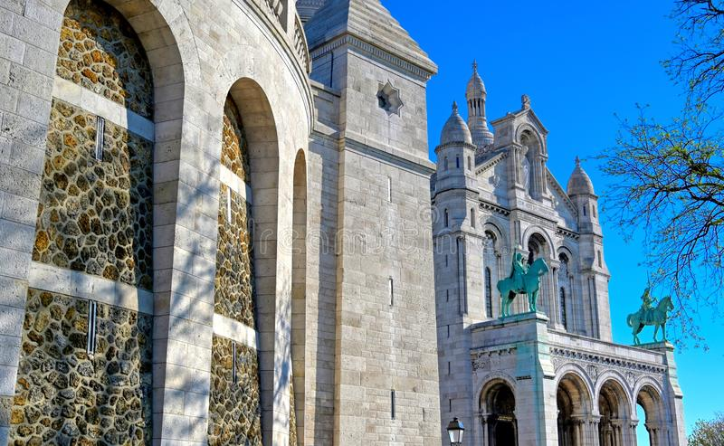 Sacre-Coeur Basilica, located in the Montmartre district of Paris, France stock images