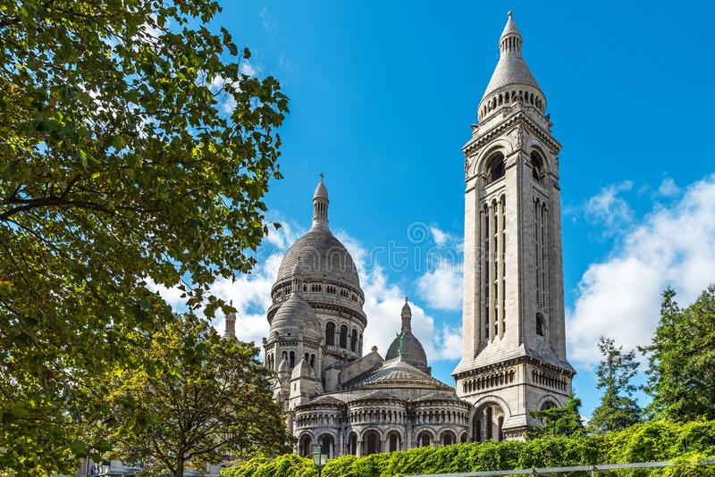 Basilica of the Sacred Heart or Sacre Coeur Basilique. Montmartre, Paris, France royalty free stock photos