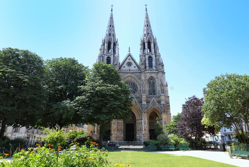Basilica of Saint Clotilde , Paris, France. stock image