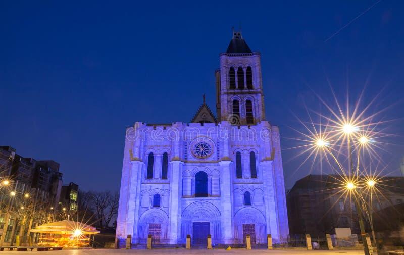 Exterior facade of the Basilica of Saint Denis, Saint-Denis, Paris, France stock photography