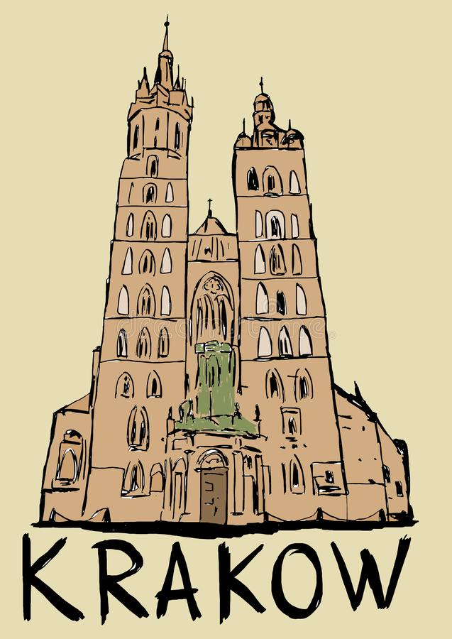 Basilica of Saint Mary in Krakow. In Poland royalty free illustration