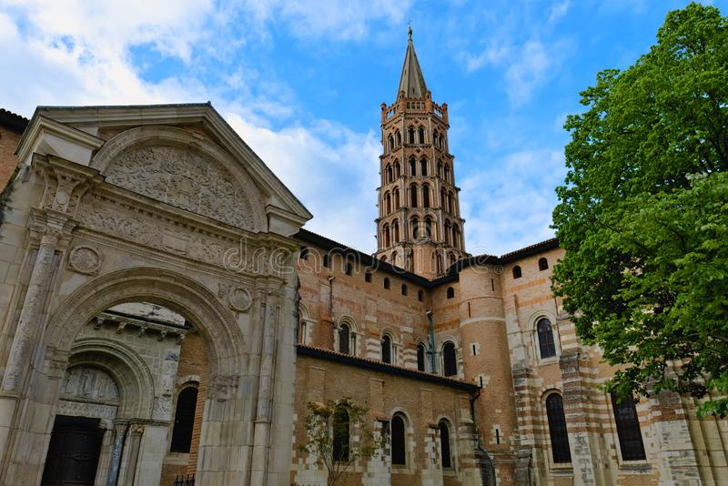Basilica of Saint Sernin and its steeple in Toulouse, France royalty free stock image