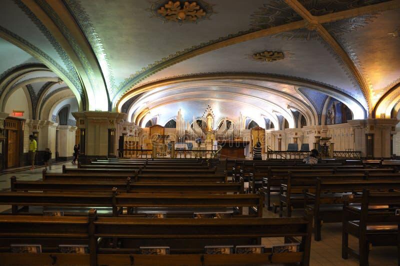 Basilica Sainte Anne de Baupre interior from Quebec province in Canada stock photos