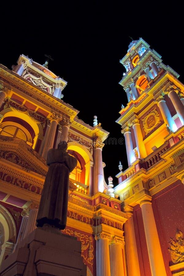Basilica in Salta. Front facade of the Basilica menor y Convento de San Francisco, with the statue of San Francisco de Asis, at night. This franciscan church and stock photos