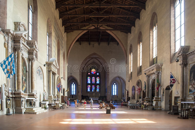 Basilica San Domeniko Siena, Lights and Darks in interior of Church, Tuscany, Italy royalty free stock photo