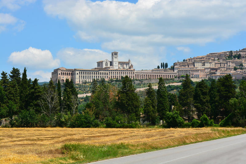 Basilica San Francesco, Assisi/Italy. Wide angle view on the Basilica San Francesco of Assisi in Umbria, Italy royalty free stock images