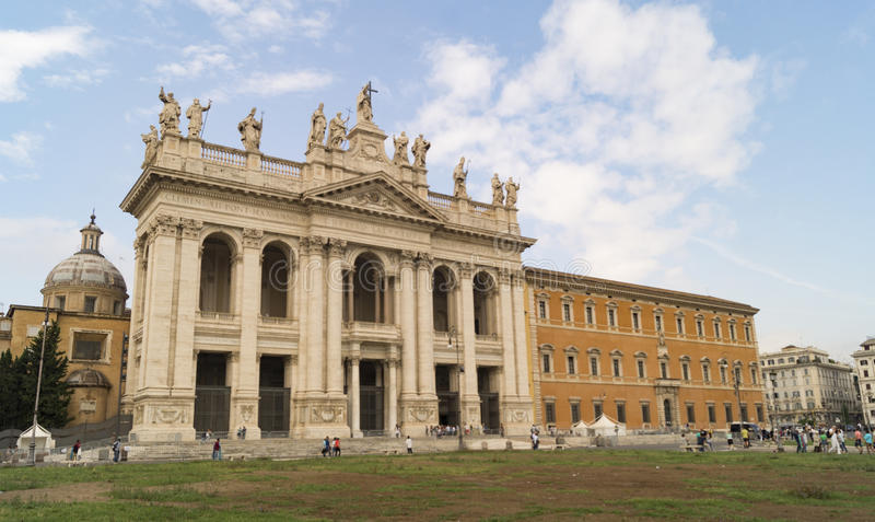 Basilica of San Giovanni. The square and Basilica of San Giovanni in Laterano in Rome stock images