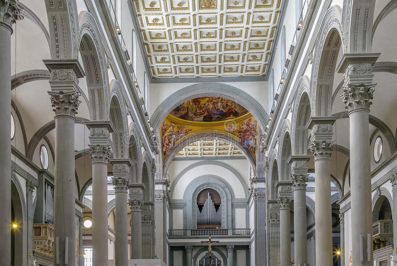 Basilica of San Lorenzo, Florence, Italy. The Basilica di San Lorenzo (Basilica of St Lawrence) is one of the largest churches of Florence, Italy. Interior stock photo