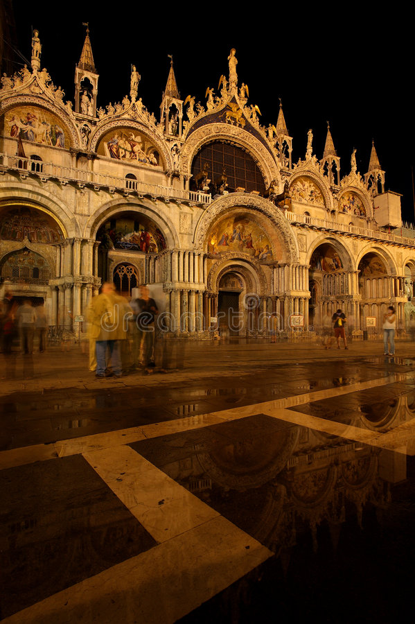 Basilica San Marco. The most famous of the city's churches and one of the best known examples of Byzantine architecture, St Mark's Basilica lies on St Mark's stock photography
