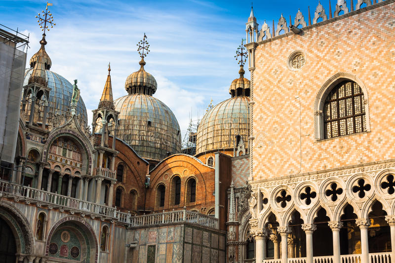 The Basilica of San Marco in St. Marks square in Venice, Italy stock photos