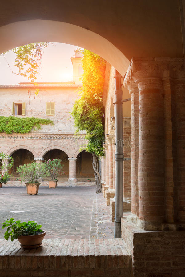 Basilica of San Nicola - Tolentino - Italy. Inside the Cloister of the Basilica of San Nicola - Tolentino - Italy royalty free stock images