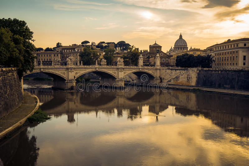 Basilica San Pietro as seen from the St. Angelo bridge stock photos