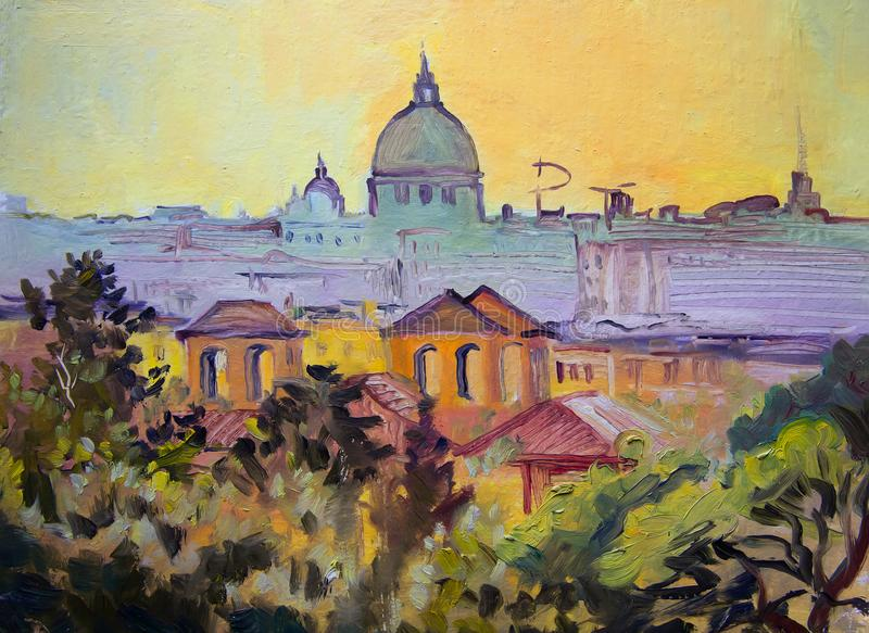 Basilica Sant Pietro panoramic painting, Rome. Italy vector illustration