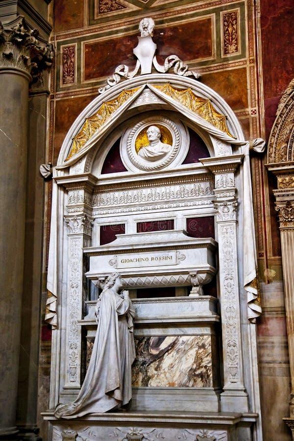 Basilica Santa Croce Firenze Italia della tomba di Rossini immagine stock libera da diritti