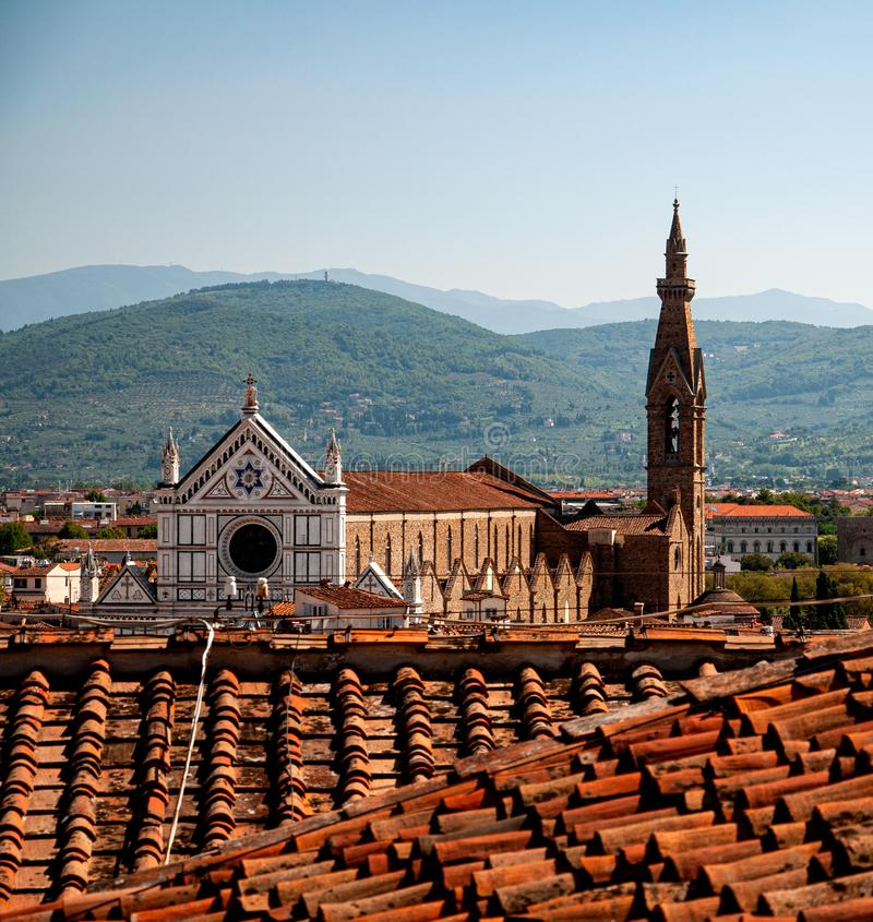 Basilica of Santa Croce in Florence seen from the Tower of Arnolfo stock image