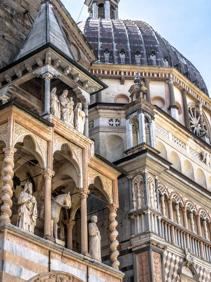 Basilica of Santa Maria Maggiore in Citta Alta, Bergamo, Italy. Historical architecture of Old town or Upper City in Bergamo in summer. Medieval church with royalty free stock photo