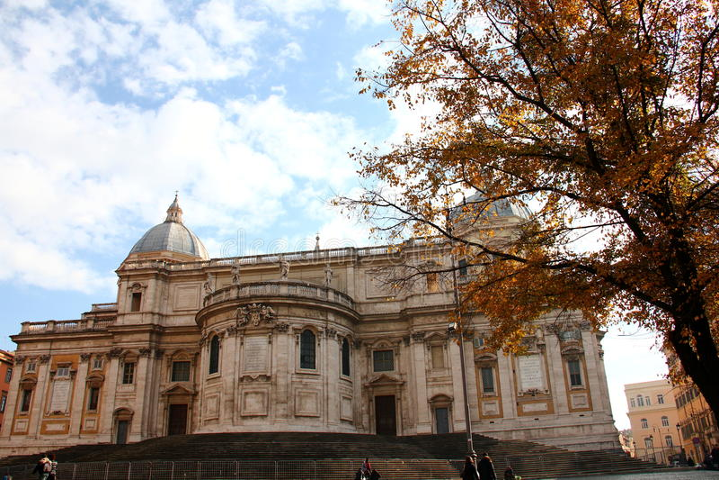 Basilica Santa Maria Maggiore facade. ( Papal Basilica of Saint Mary Major) Rome, Italy royalty free stock photo