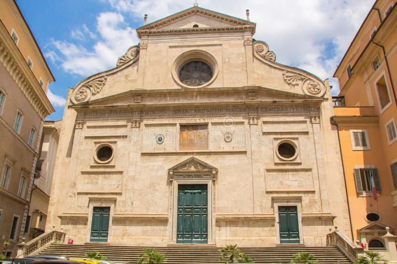The Basilica of St. Augustine in Rome city. Sant`Agostino is a Roman Catholic church stock images