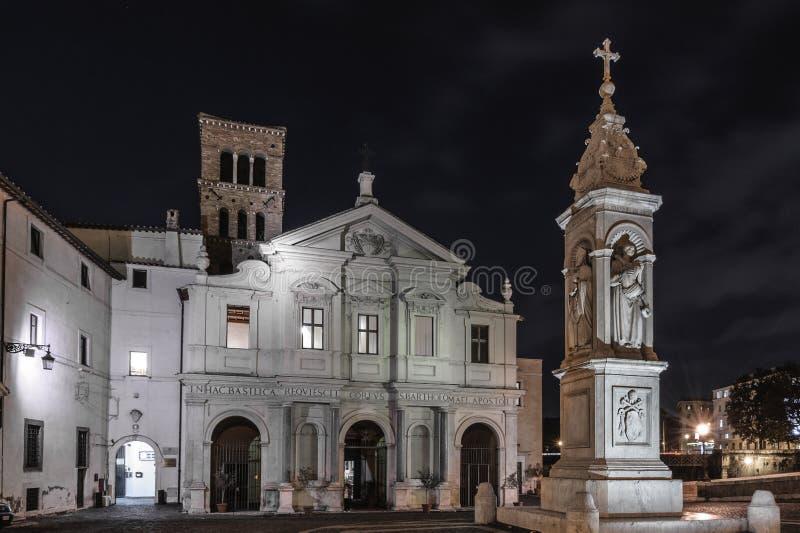 Basilica of St. Bartholomew on the Island, Rome stock photos