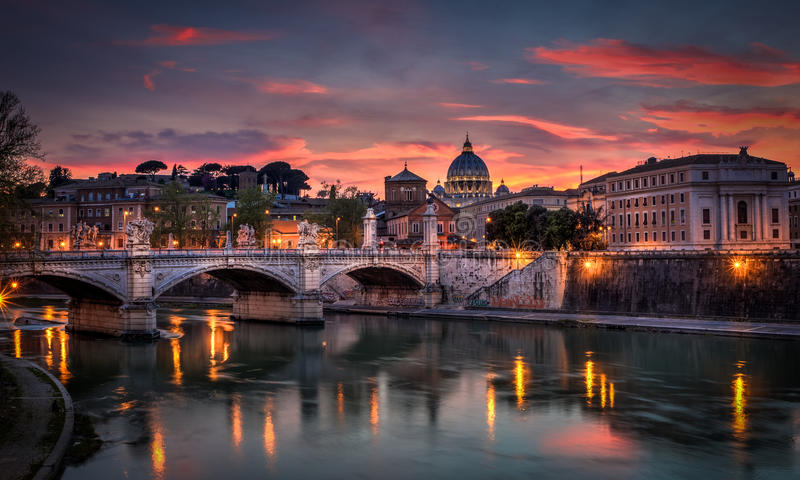 Basilica St Peter Rome with pink sky stock images