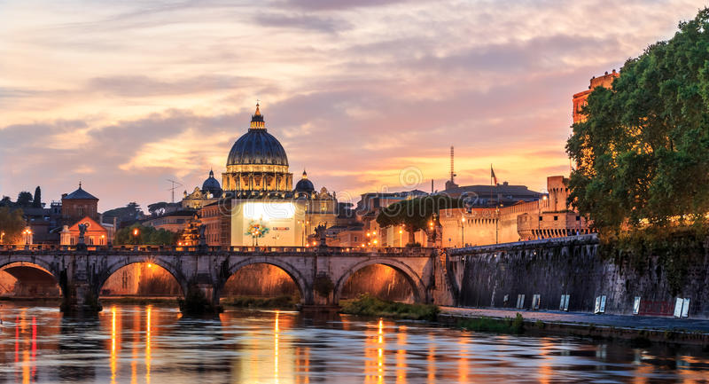 Basilica St.Peter`s dome Vatican stock photo
