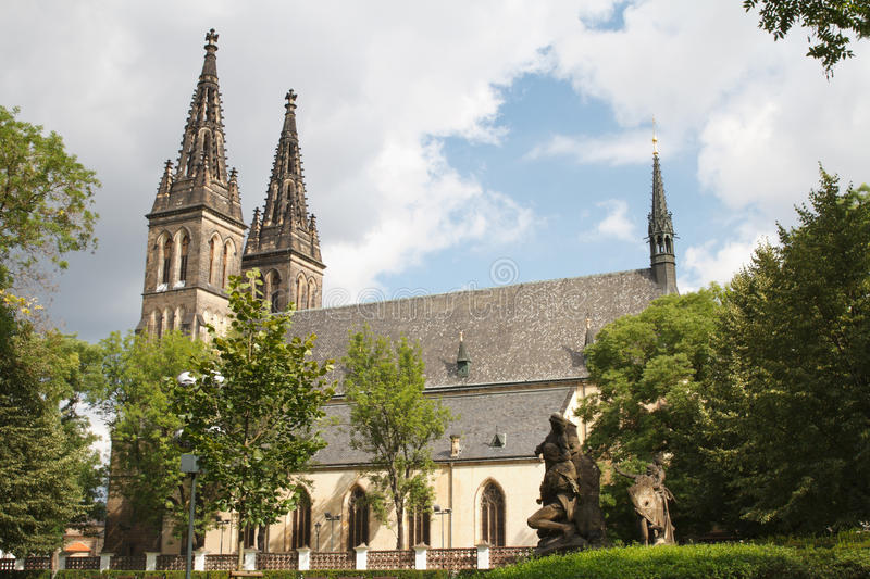 Basilica of St Peter and St Paul in Vysehrad fortress in Prague. Czech Republic stock images