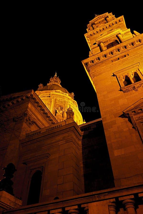 Basilica of St. Stephen at night stock image