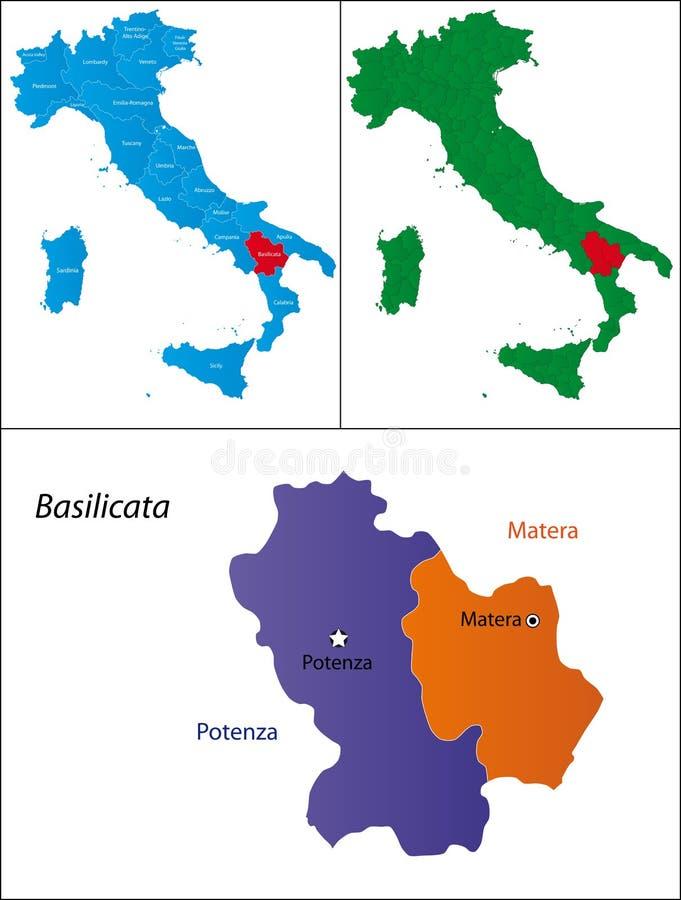 basilicata意大利地区 皇族释放例证