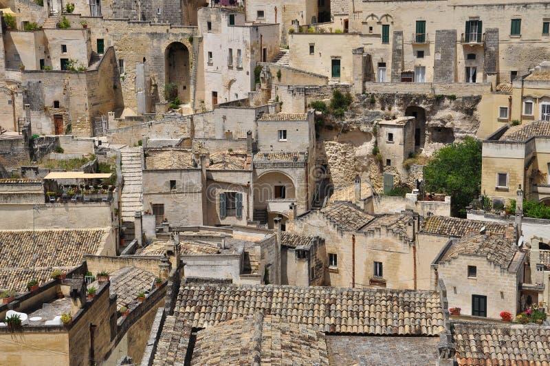 basilicata italy matera Den gamla staden Sassi, traditionell arkitektur royaltyfri bild