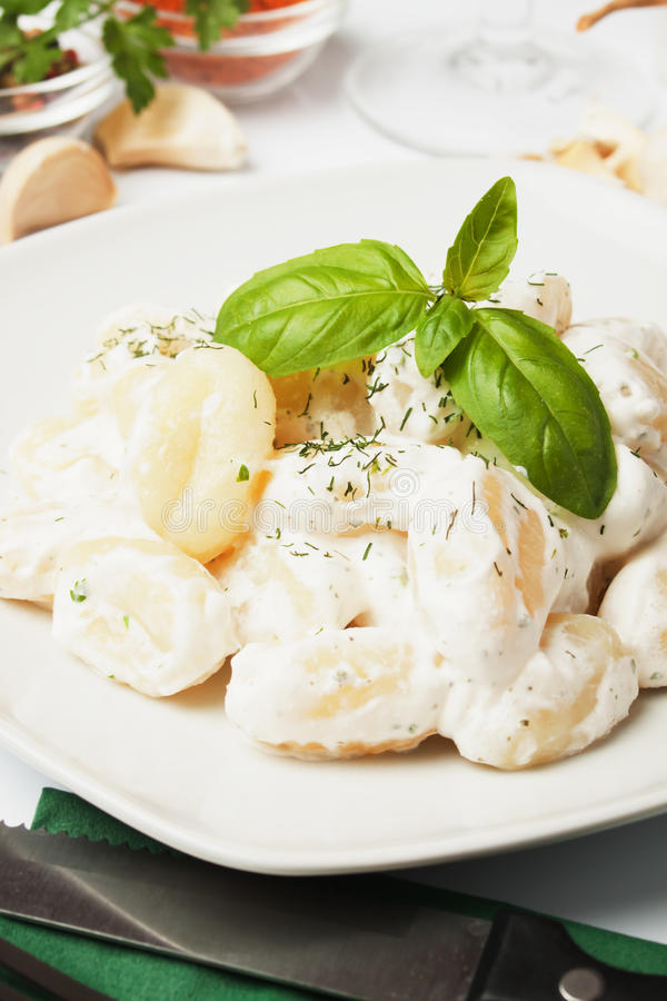 basilico cheese di gnocchi patata调味汁 免版税库存图片