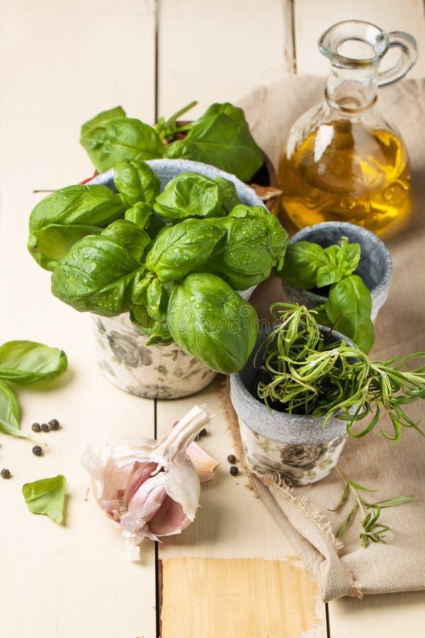Basilico, dadi e olio d'oliva fotografia stock