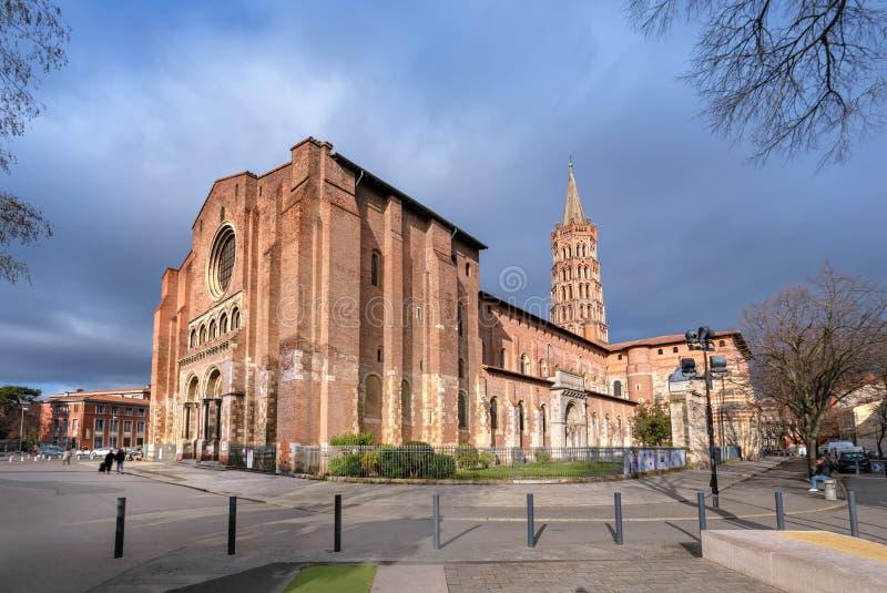 Basiliek heilige-Sernin DE Toulouse, Frankrijk stock foto