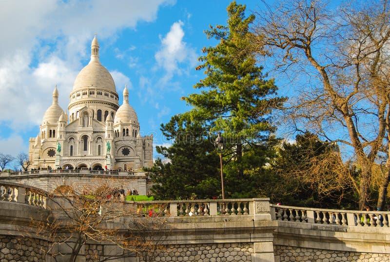 Basiliek Sacre Coeur Parijs, Frankrijk stock foto's